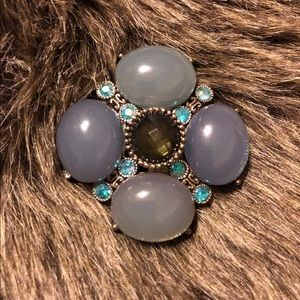 Vintage 60s cabochon domed faceted stone brooch